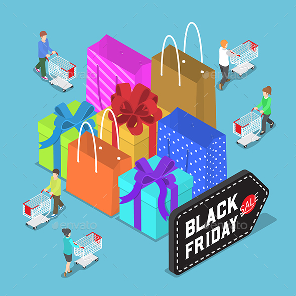 Flat 3D Isometric People Shopping in Black Friday Sale