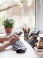Hands of Caucasian woman teleworking - PhotoDune Item for Sale