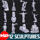 12 Famous Sculptures Landmark in the World Low Poly - 3DOcean Item for Sale