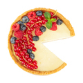 Cheesecake with fresh red currants, blueberries, raspberries and mint leaves - PhotoDune Item for Sale