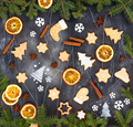 Christmas ginger cookies, dried orange, cinnamon, star anise,  snowflakes and spruce branches - PhotoDune Item for Sale