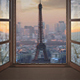 Paris Timelapse At Sunset Seen From A Window Aerial View - VideoHive Item for Sale
