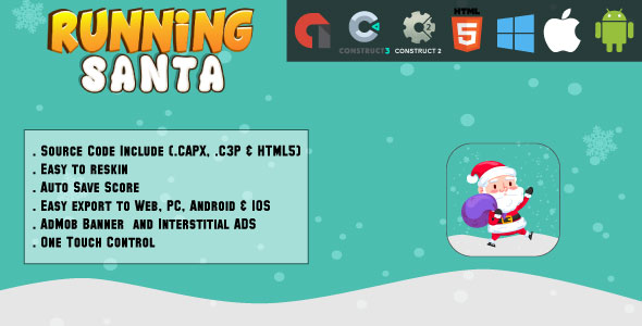 Running Santa - HTML5 Game - Web & Mobile + AdMob (CAPX, C3p and HTML5)