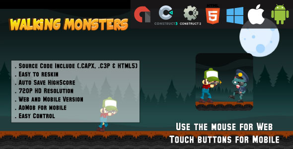 Walking Monsters - HTML5 Game - Web & Mobile + AdMob (CAPX, C3p and HTML5)