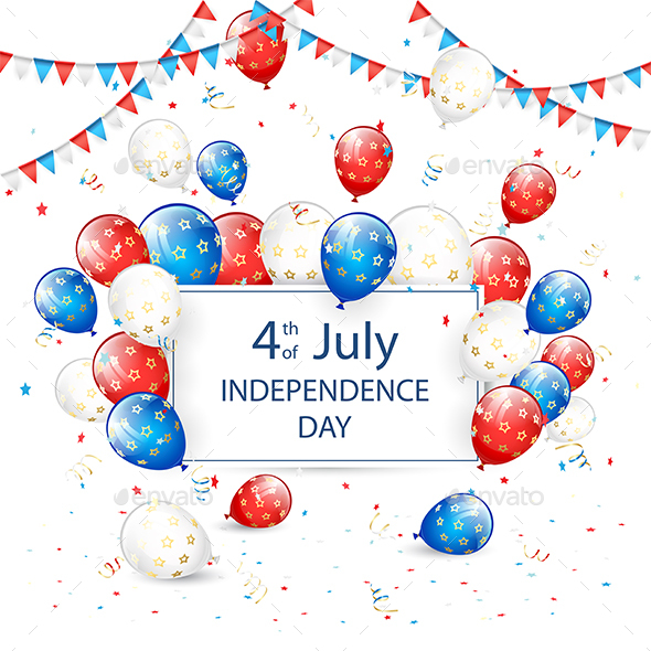 Independence Day Balloons and Tinsel on White Holiday Background