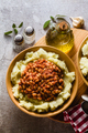mashed potatoes with stewed white beans in tomatoes - PhotoDune Item for Sale