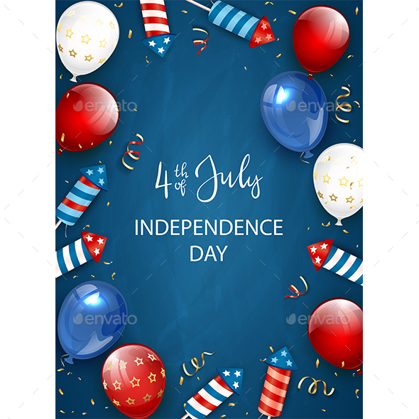 Independence Day Decorations on Blue Background