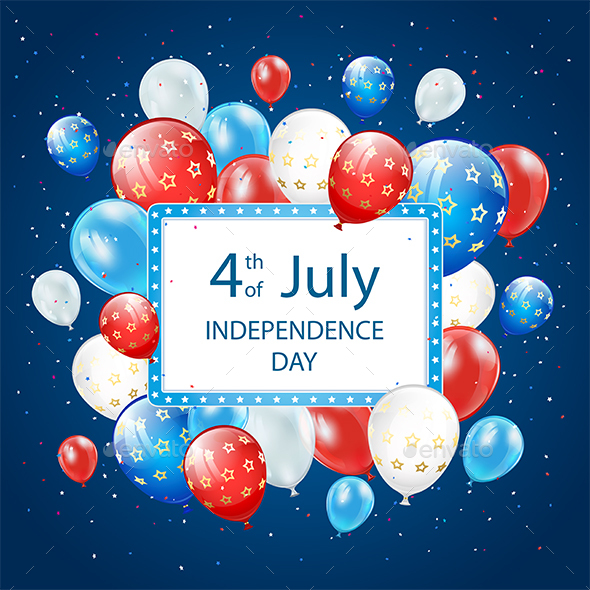 Independence Day Balloons on Blue Background