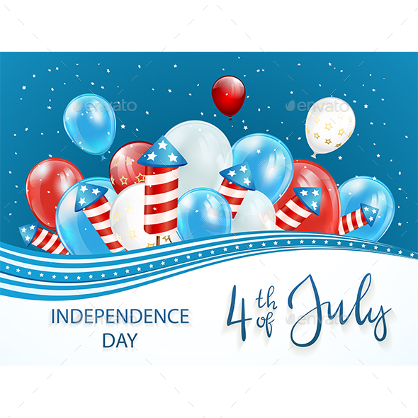 Independence Day Background with Balloons and Firework Rockets