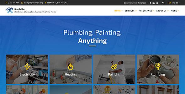BlueCollar - Handyman & Renovation Business WordPress Theme Download