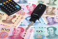 Car key on a Chinese money - PhotoDune Item for Sale