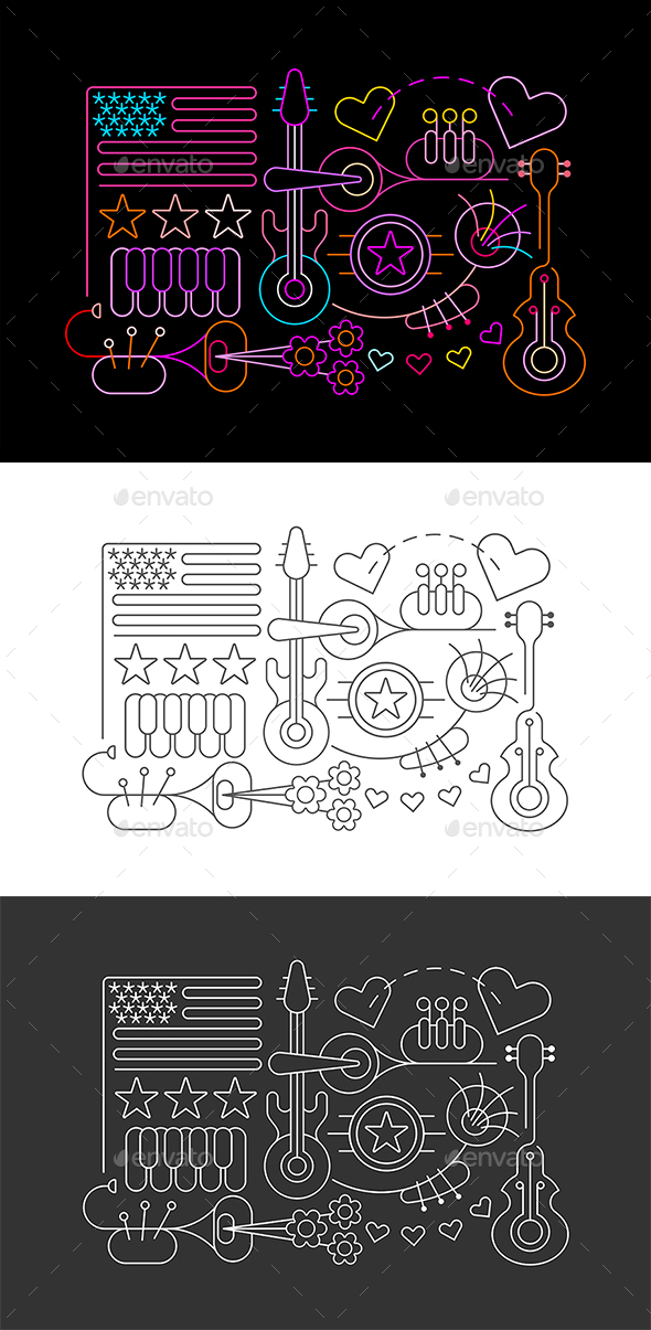 USA Independence Day (Neon & Monochrome)