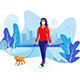 Solo Woman Wearing Face Mask with Dog Walking in City Park - GraphicRiver Item for Sale
