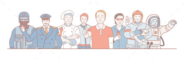 Labor Day Vector Cartoon Outline Concept