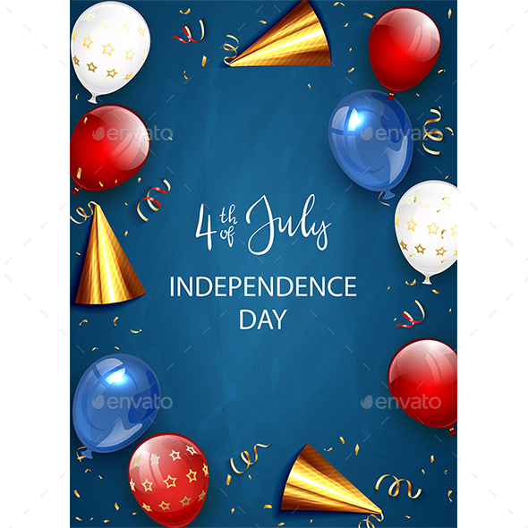Independence Day Decorations on Blue Background with Balloons