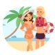 Resting Woman Near Beach Lifeguard Character - GraphicRiver Item for Sale