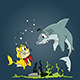 Cartoon Shark Surprised To See A Cat With A Fish Tail - GraphicRiver Item for Sale