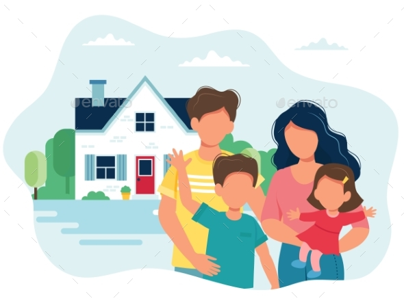 Family with Children and a House. Vector