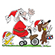 Cartoon Santa Claus Riding a Bicycle Together with his Cat and Dog Friends Vector Illustration - GraphicRiver Item for Sale