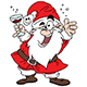 Cartoon Santa Claus Drinking Wine Celebrating New Year Vector Illustration - GraphicRiver Item for Sale