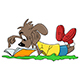 Cartoon Dog Lying On Ground Reading A Book Vector Illustration - GraphicRiver Item for Sale