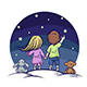 Boy and Girl on a Background of the Starry Sky - GraphicRiver Item for Sale