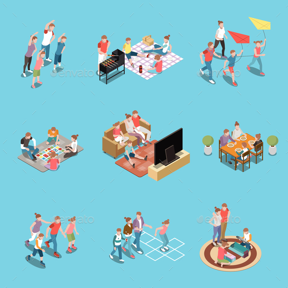 Family Leisure Activities Playing Isometric People Icon Set