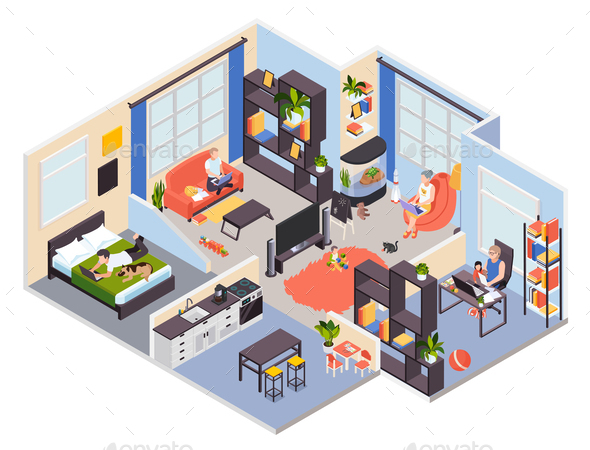 Remote Work Home Isometric