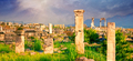 Panorama of ancient city of Hierapolis with statue of Pluto in Pamukkale - PhotoDune Item for Sale