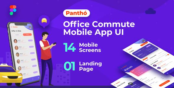 Panthó | A Office Commute Mobile App UI & Landing Page Figma Template