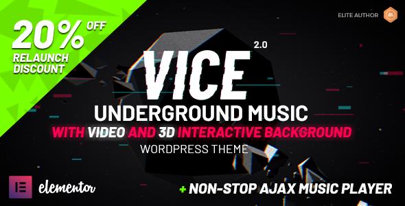 Vice: Underground Music Elementor WordPress Theme 4