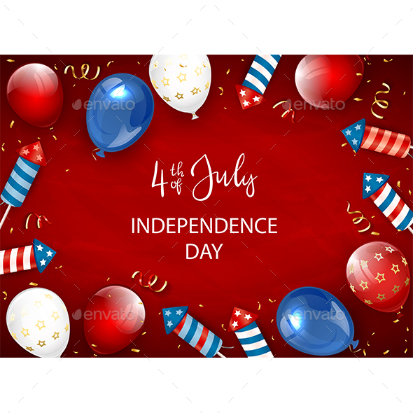 Independence Day Red Background with Balloons and Fireworks