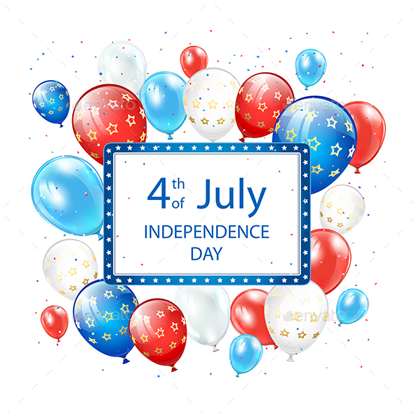 Independence Day Balloons on White Background