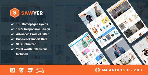 Sawyer - Multipurpose Responsive Magento 2 and 1.9 Theme 2