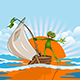 Illustration of a Merry Frog on a Boat in the Sea - GraphicRiver Item for Sale