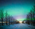 Northern lights Aurora Borealis over frozen trees and snow covered road in winter of Iceland, Europe - PhotoDune Item for Sale