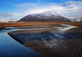 Curve river lead to the mountain, Iceland, Europe - PhotoDune Item for Sale