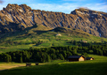 Seiser Alm (Alpe di Siusi) with Langkofel mountain at sunrise in summer, Italy - PhotoDune Item for Sale