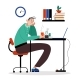 Office Worker Male Character Sitting with Headache - GraphicRiver Item for Sale