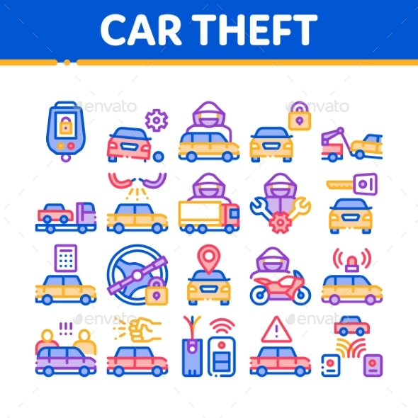 Car Theft Collection Elements Icons Set Vector