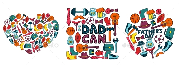 Happy Father's Day. Set of Banners in Doodle Style