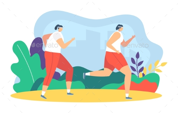 People Runners Jogging Vector Illustration