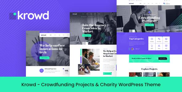 Krowd – Crowdfunding & Charity WordPress Theme Preview