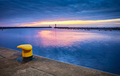 Mooring bollard in a harbor during the blue hour. - PhotoDune Item for Sale