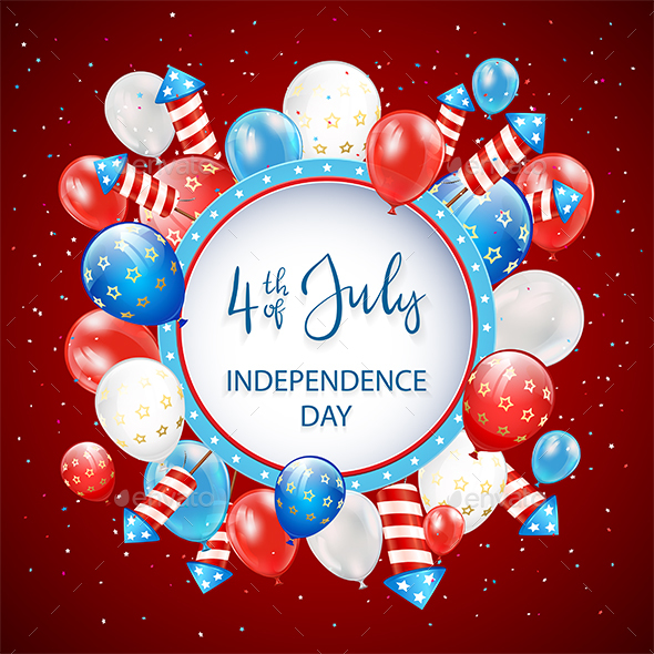 Independence Day with Balloons and Fireworks on Red Background