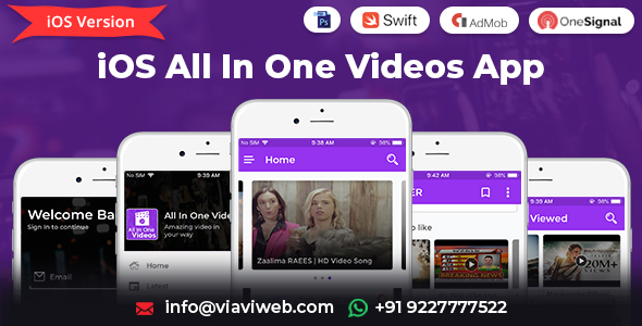 iOS All In One Videos App (DailyMotion,Vimeo,Youtube,Server Videos, Admob with GDPR) Download