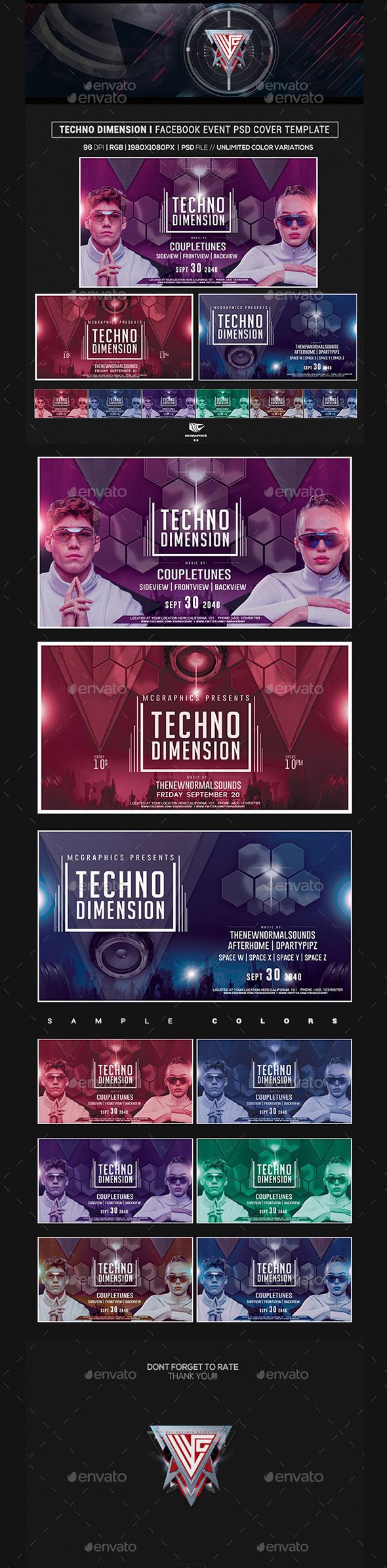 Techno Dimension Facebook Event Cover/Banner Templates