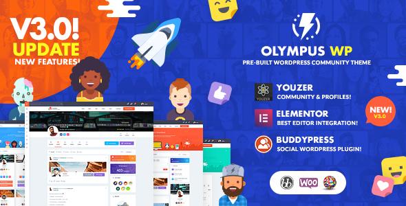 Olympus – Social Networking WordPress Theme, Gobase64
