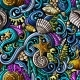 Cartoon Doodles Under Water Life Seamless Pattern - GraphicRiver Item for Sale