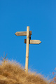 Wooden signpost and blue sky. Copy space on the top. - PhotoDune Item for Sale